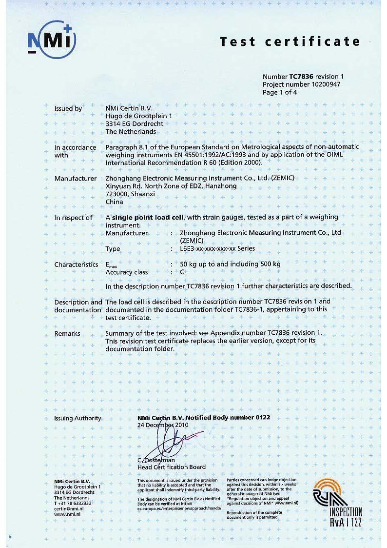 Сертификат OIML ZEMIC L6E3
