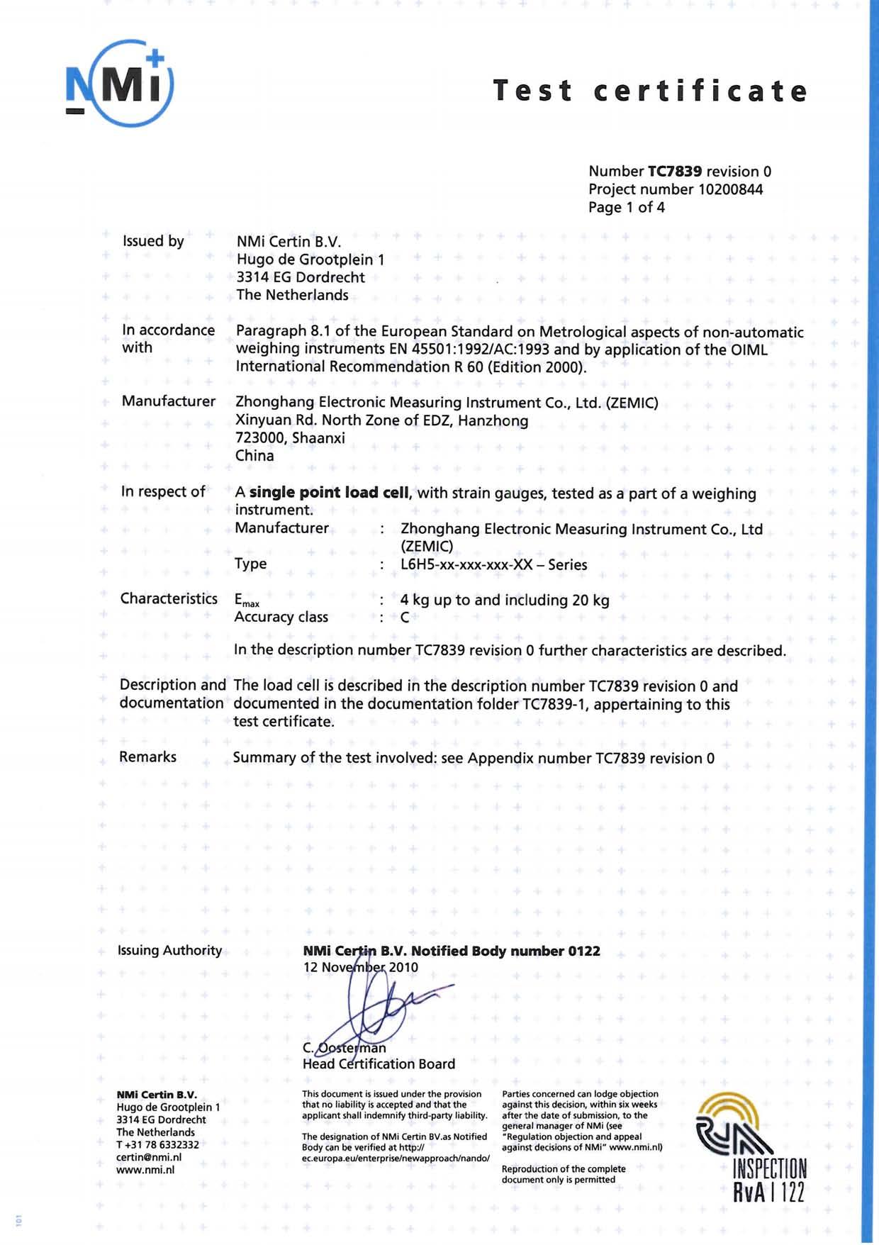 Сертификат OIML ZEMIC L6H5